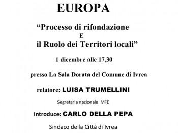 """EUROPA """"Processo di rifondazione e il Ruolo dei Territori locali"""""""