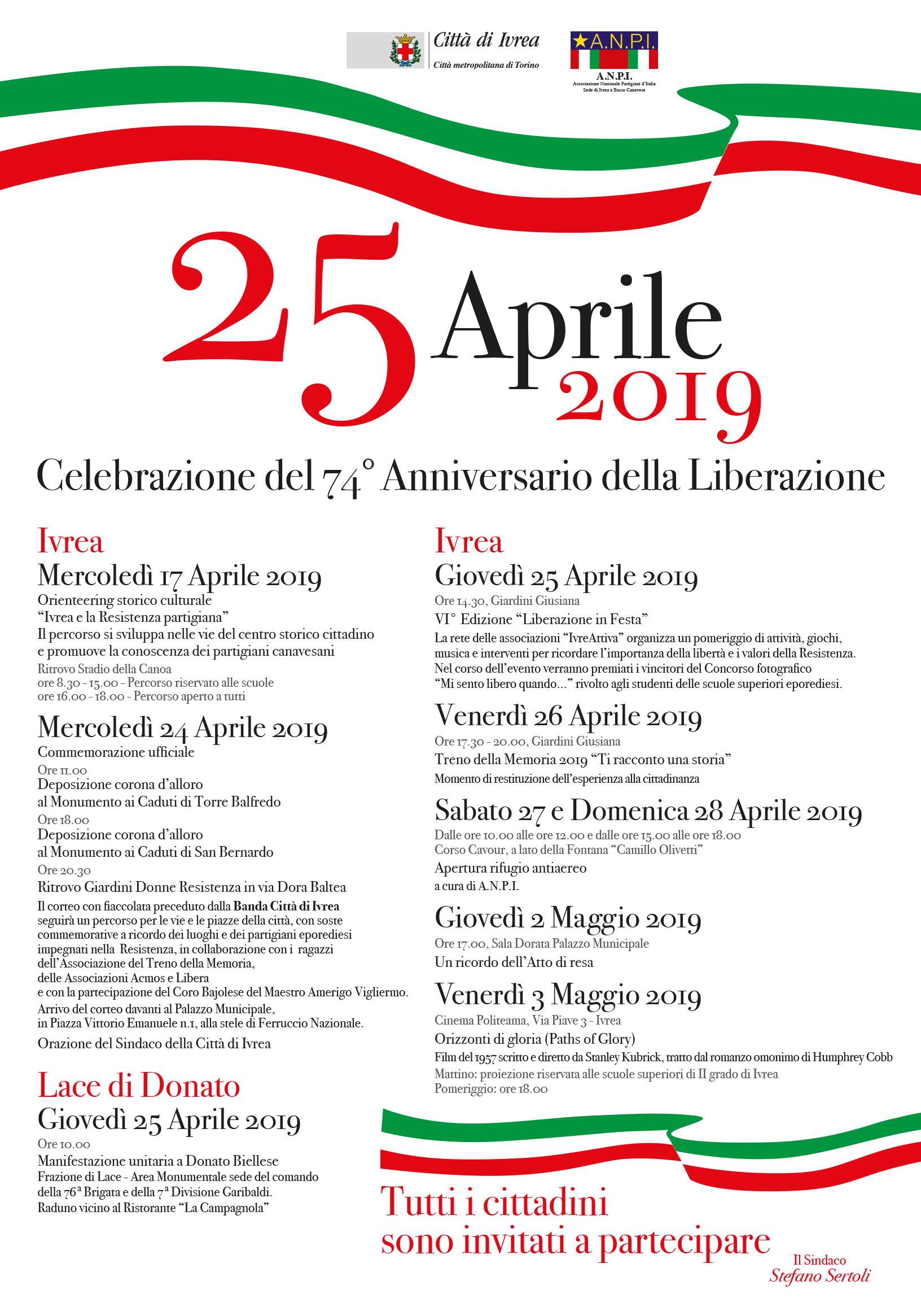 Gli eventi del 25 Aprile 2019